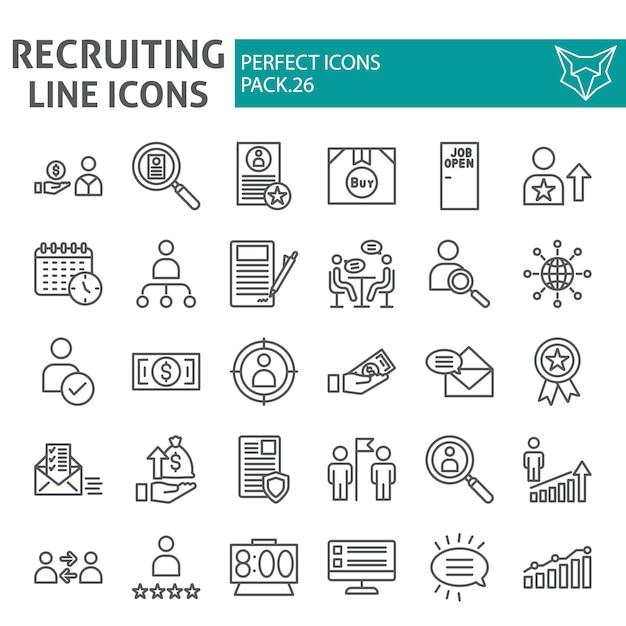 Zestaw Ikon Linii Rekrutacyjnych, Kolekcja Zatrudnienia Premium Wektorów
