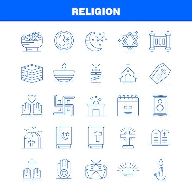 Zestaw ikon linii religii dla infografiki, zestaw mobile ux / ui Premium Wektorów