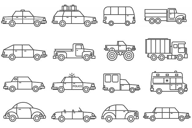 Zestaw ikon linii samochodów Darmowych Wektorów