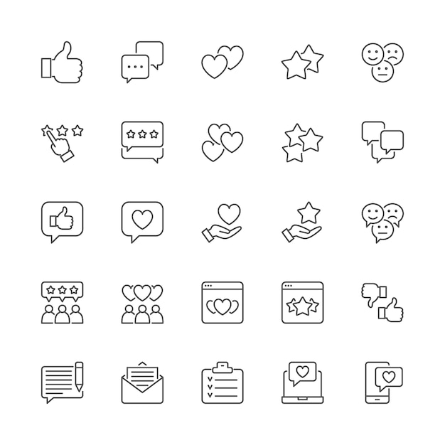 Zestaw ikon linii sprzężenia zwrotnego. kciuk w górę, jak, nie lubię, serca, czat, sms i więcej. Premium Wektorów