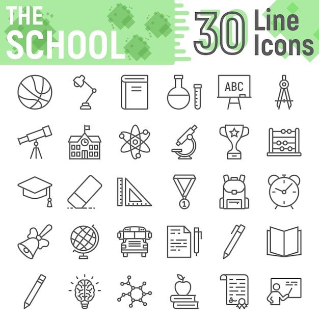 Zestaw Ikon Linii Szkoły, Kolekcja Symboli Edukacji Premium Wektorów