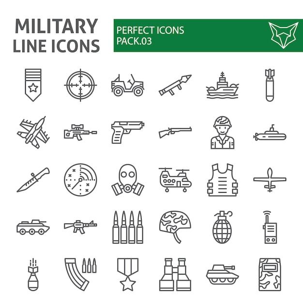 Zestaw Ikon Linii Wojskowej, Kolekcja Armii Premium Wektorów