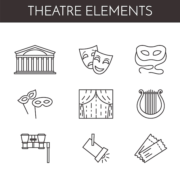 Zestaw ikon linii związanych z teatru Premium Wektorów