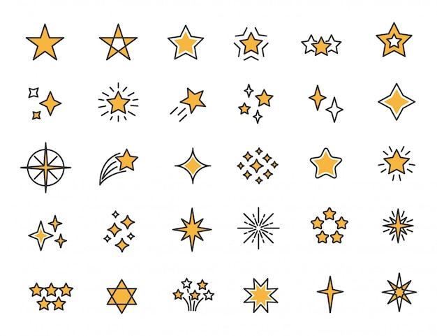 Zestaw Ikon Liniowych Gwiazd Gwiazdy Migoczą Ikony Premium Wektorów