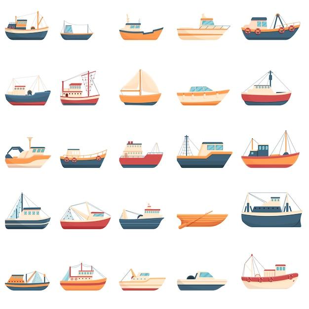 Zestaw Ikon łodzi Rybackich. Ikony łodzi Rybackich Premium Wektorów