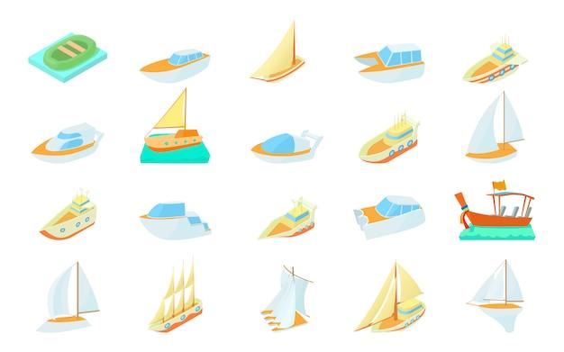 Zestaw ikon łodzi Premium Wektorów