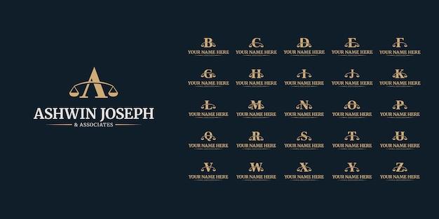 Zestaw Ikon Logo Prawnika, Projekt Szablonu Logotypu Prawnego, Logo Firmowe Firmy Prawniczej Od A Do Z. Premium Wektorów