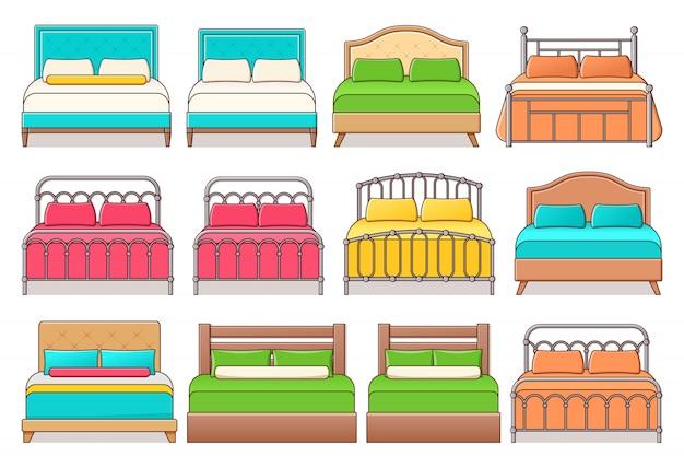 Zestaw Ikon łóżka Premium Wektorów