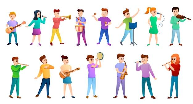 Zestaw ikon ludzi szkoły muzycznej Premium Wektorów