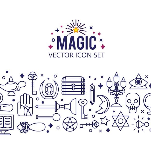 Zestaw ikon magii. skrzyć magiczne światła. tajemniczy cud Darmowych Wektorów
