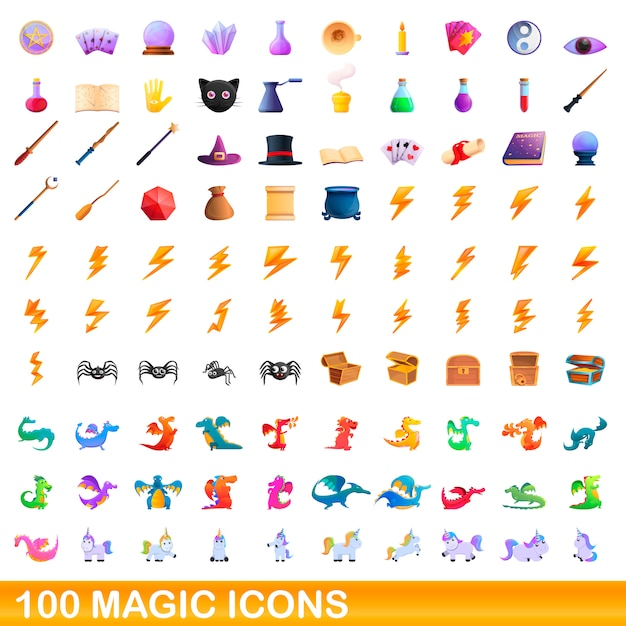 Zestaw Ikon Magii, Stylu Cartoon Premium Wektorów