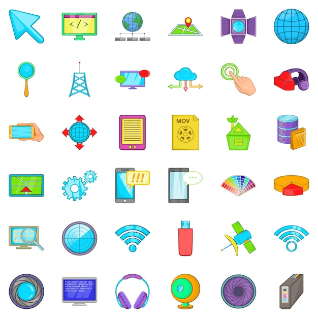 Zestaw ikon map internetowych, stylu cartoon Premium Wektorów