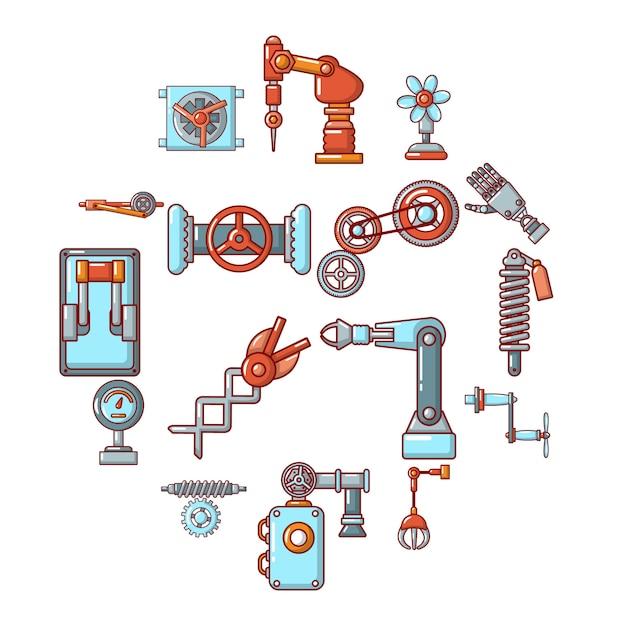 Zestaw Ikon Mechanizmów Technicznych, Styl Kreskówki Premium Wektorów