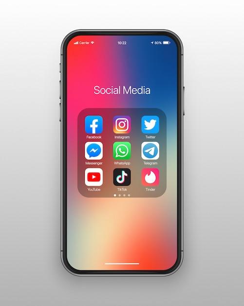 Zestaw Ikon Mediów Społecznościowych Folderu Smartphone Premium Wektorów
