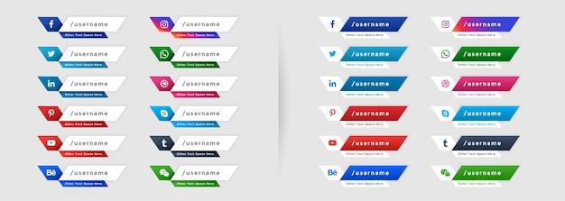 Zestaw Ikon Mediów Społecznościowych Niższy Trzeci Baner Darmowych Wektorów