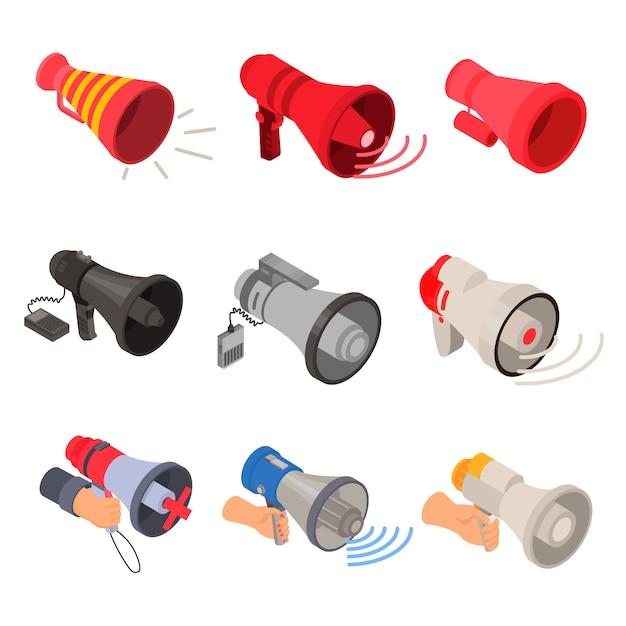 Zestaw ikon megafon. izometryczny zestaw ikon wektorowych megafon do projektowania stron internetowych na białym tle Premium Wektorów