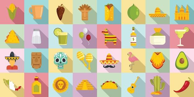 Zestaw Ikon Meksyk, Płaski Premium Wektorów