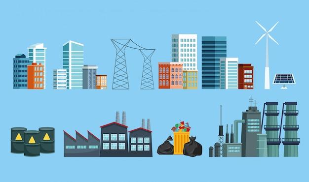 Zestaw Ikon Miasta I Przemysłu Zanieczyszczającego Premium Wektorów