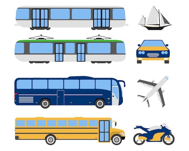Zestaw ikon miejskiego transportu płaskie Premium Wektorów