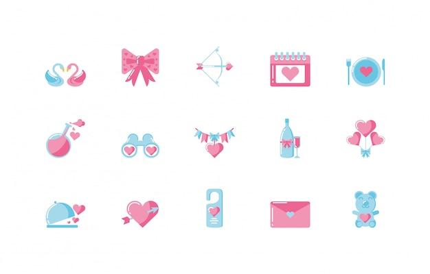 Zestaw Ikon Miłości I Walentynki Premium Wektorów