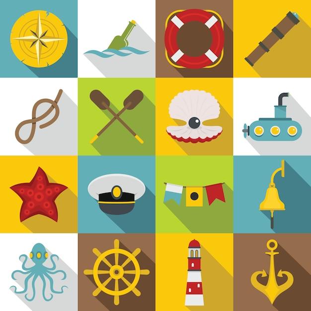 Zestaw Ikon Morskie, Płaski Premium Wektorów