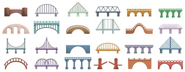 Zestaw ikon mostów, stylu cartoon Premium Wektorów