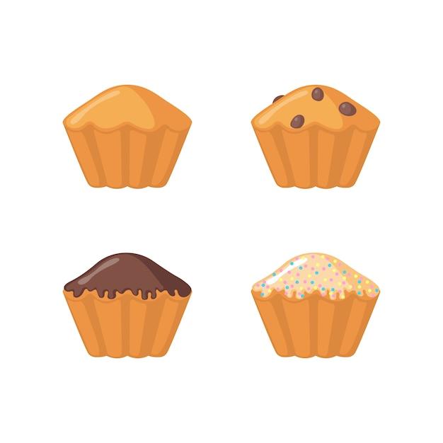 Zestaw Ikon Muffin Premium Wektorów