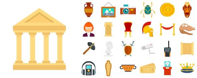 Zestaw ikon muzeum Premium Wektorów