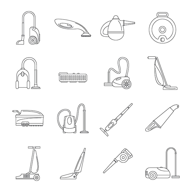 Zestaw ikon mycia odkurzacza Premium Wektorów