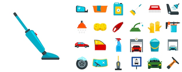 Zestaw Ikon Myjni Samochodowej Premium Wektorów