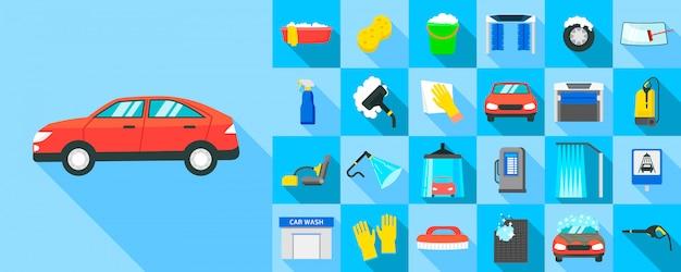 Zestaw Ikon Myjni Samochodowych, Płaski Premium Wektorów