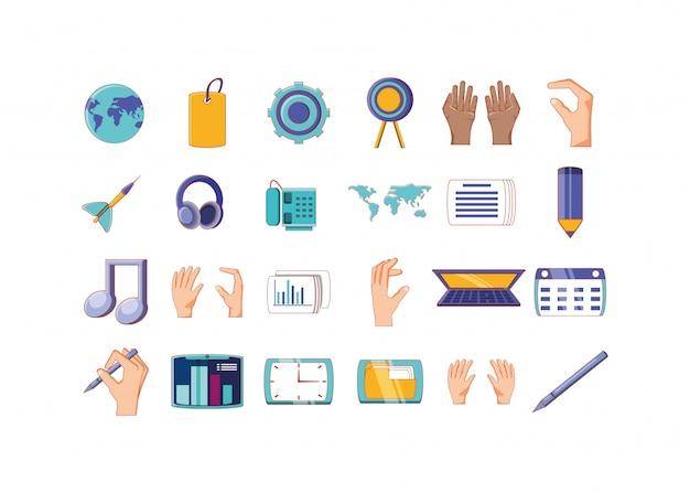 Zestaw Ikon Na Białym Tle Biznesowych I Biurowych Premium Wektorów