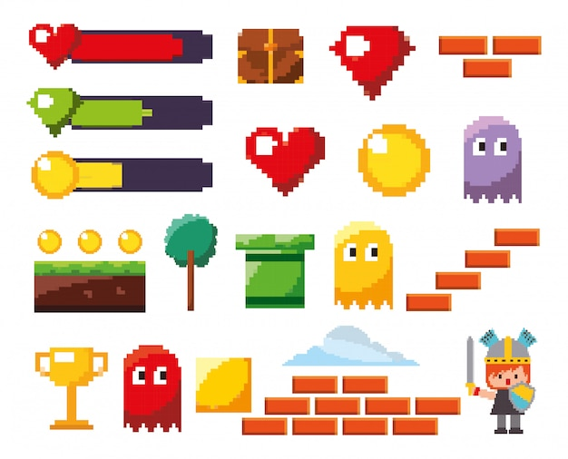 Zestaw ikon na białym tle gry wideo Darmowych Wektorów