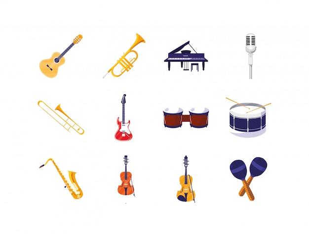 Zestaw Ikon Na Białym Tle Instrumentów Muzycznych Premium Wektorów