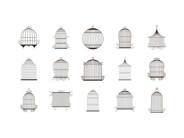 Zestaw Ikon Na Białym Tle Klatka Dla Ptaków Premium Wektorów