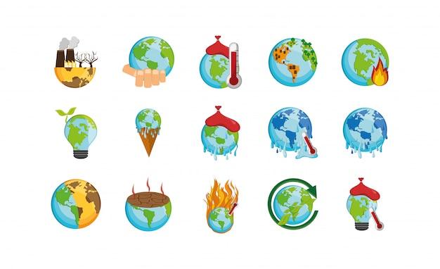 Zestaw Ikon Na Białym Tle Zmiany Klimatu Premium Wektorów