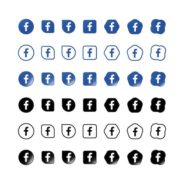 Zestaw Ikon Na Facebooku Premium Wektorów