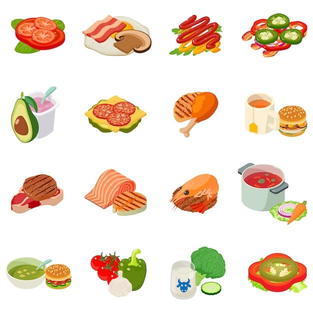Zestaw ikon na lunch Premium Wektorów