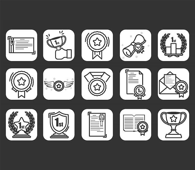 Zestaw Ikon Nagrody Premium Wektorów