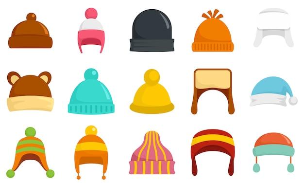Zestaw ikon nakrycia głowy zimą Premium Wektorów