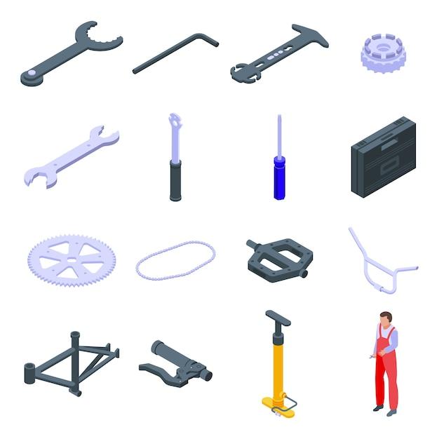 Zestaw Ikon Naprawy Rowerów. Izometryczny Zestaw Ikon Naprawy Rowerów Dla Sieci Web Na Białym Tle Premium Wektorów