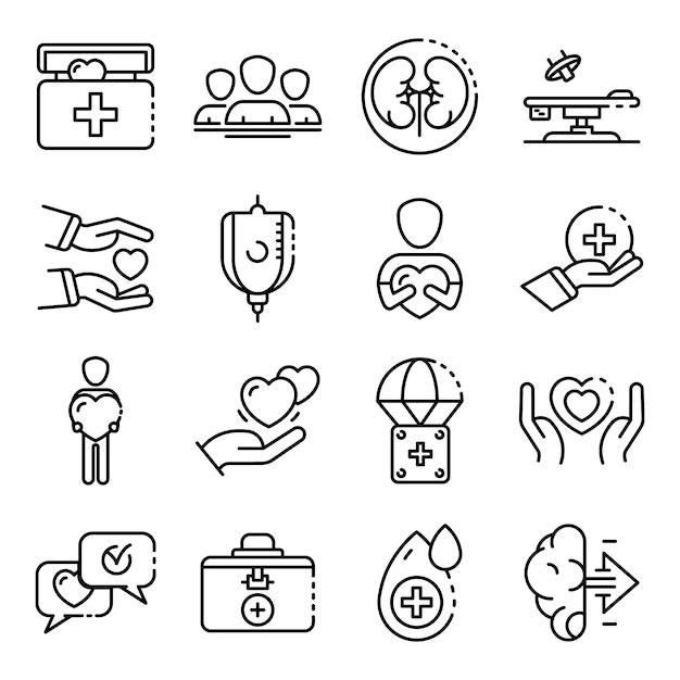 Zestaw ikon narządów darowizny, styl konspektu Premium Wektorów