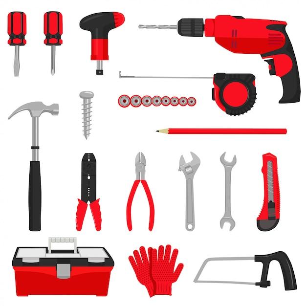 Zestaw ikon narzędzi budowlanych naprawy Premium Wektorów