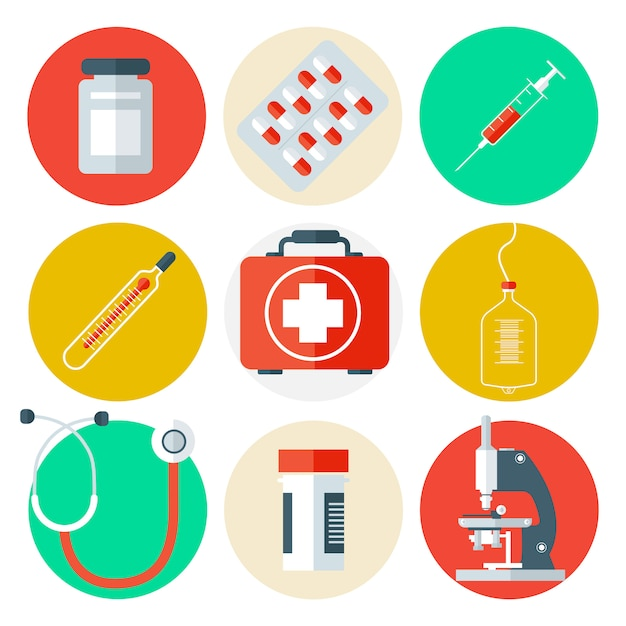 Zestaw ikon narzędzi medycznych. wykształcenie medyczne z opieki zdrowotnej. Premium Wektorów