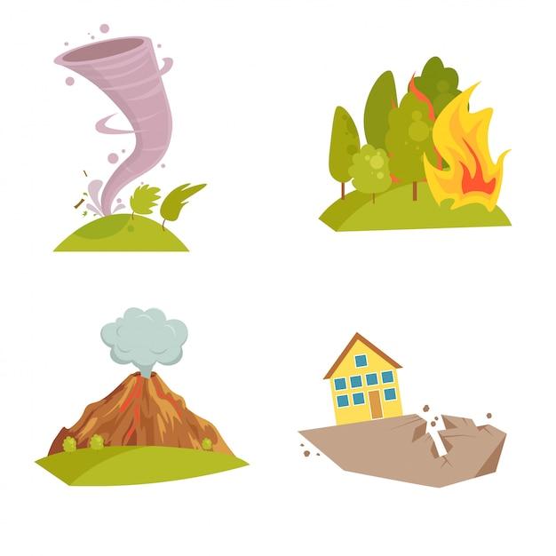 Zestaw ikon naturalnych kataklizmów. fala tsunami, wir tornada, płomień meteorytu, wybuch wulkanu, burza piaskowa Premium Wektorów