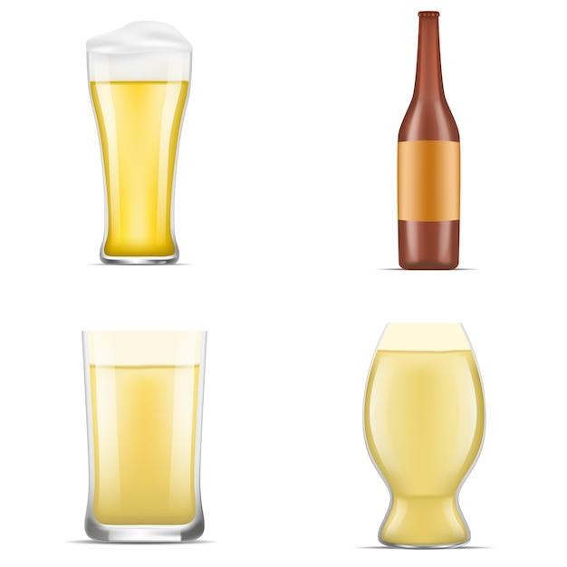 Zestaw ikon niemieckiego piwa. realistyczny zestaw ikon wektorowych niemieckiego piwa na projektowanie stron internetowych na białym tle Premium Wektorów