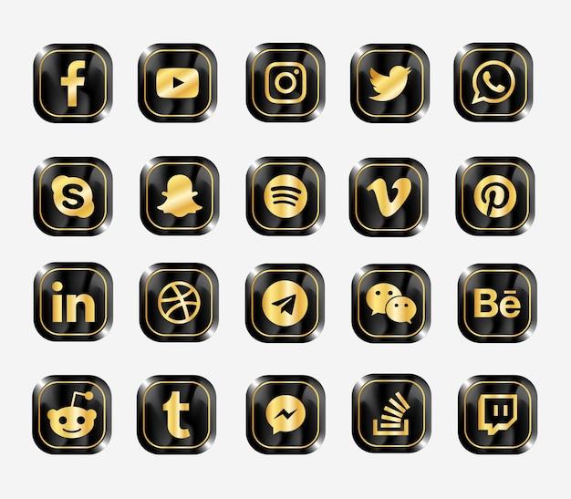 Zestaw Ikon Nowoczesnych Sieci Społecznościowych Premium Wektorów