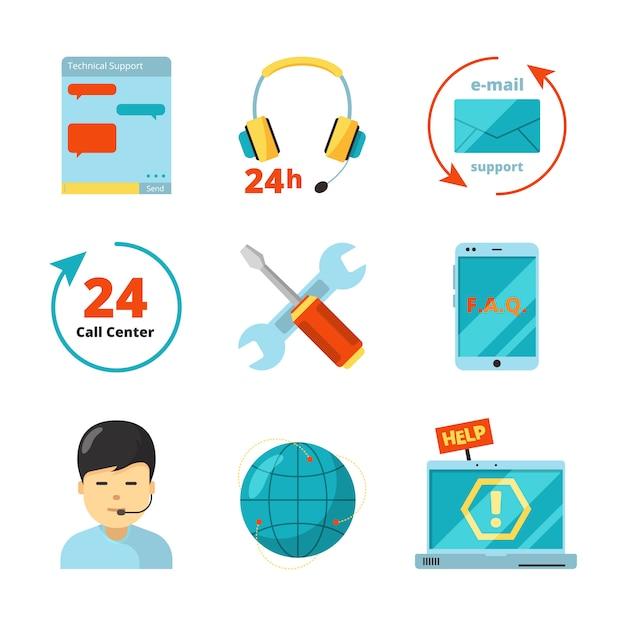 Zestaw Ikon Obsługi Klienta Premium Wektorów