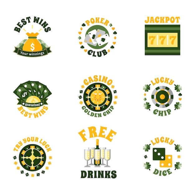 Zestaw ikon odznaki kasyna Darmowych Wektorów