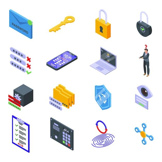 Zestaw Ikon Odzyskiwania Hasła. Izometryczny Zestaw Ikon Odzyskiwania Hasła Dla Sieci Na Białym Tle Premium Wektorów